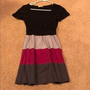 Black, gray, pink stripped dress